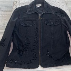 Cold water Creek black denim jacket